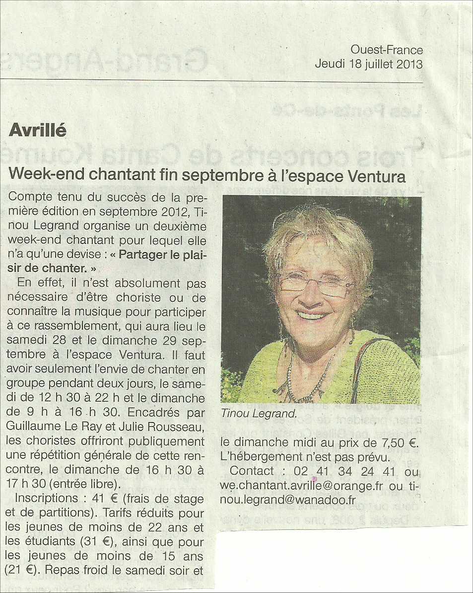 Ouest France 18 juillet 2013