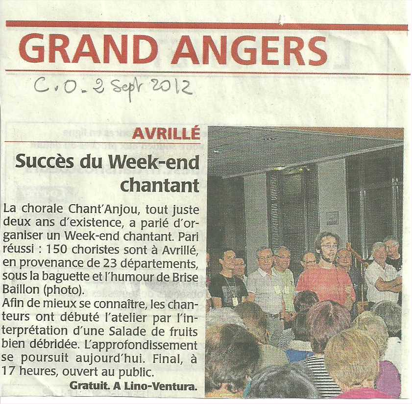 Courrier de l'Ouest 2 septembre 2012