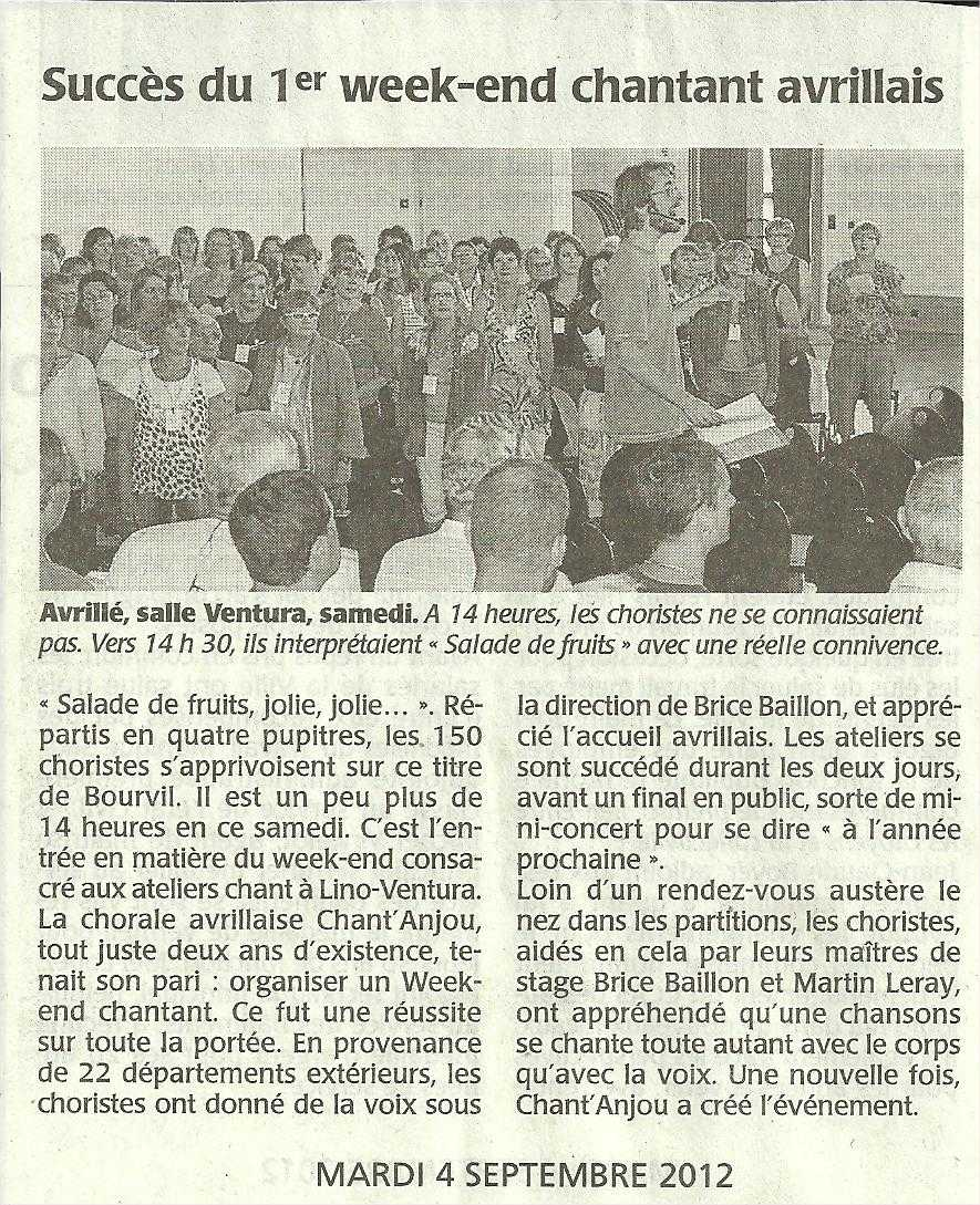 Courrier de l'Ouest 4 septembre 2012